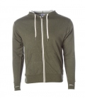 Textil Jacke Midweight French Terry Zip Hood - oliv