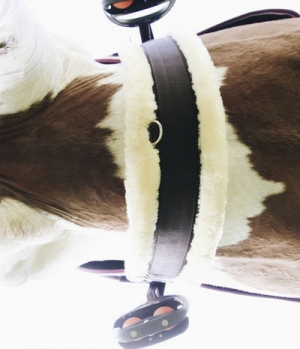 Kentucky Horsewear Sattelgurt Nylon elastisch mit Lammfell