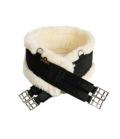 Kentucky Horsewear Sattelgurt Nylon elastisch mit Lammfell - schwarz