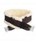 Kentucky Horsewear Sattelgurt Nylon elastisch mit Lammfell - braun