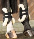 Equine Microtec Streichkappen lang 2er Set mit Fell - schwarz