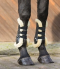 Equine Microtec Gamasche Hartschale Fell Set Druckknopf - schwarz