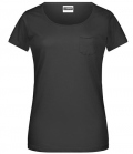 T-Shirt Ladies Brusttasche - schwarz